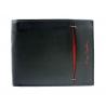 Portfel męski Pierre Cardin ze skóry naturalnej czarny z bordową wstawką