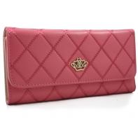 Długi klasyczny portfel pikowany z eko skóry, różowy