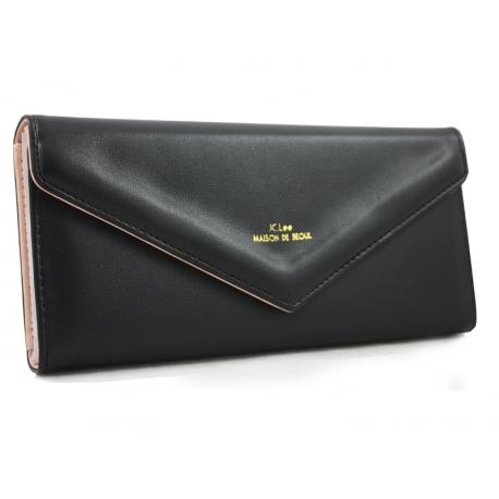 fe376c21f3d87 Długi klasyczny portfel typu kopertówka z eko skóry, czarny