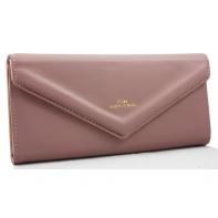 Długi klasyczny portfel typu kopertówka z eko skóry, różowy