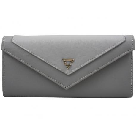 bd4f4ca203ba3 Elegancki portfel typu kopertówka z eko skóry, szary