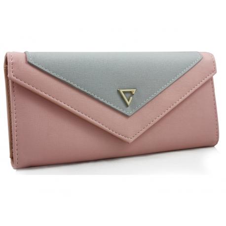 646110085708a Elegancki portfel typu kopertówka z eko skóry, łososiowy