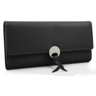 Elegancki długi portfel z eko skóry, czarny