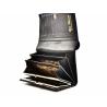 Elegancki, skórzany portfel damski Peterson, lakierowany granatowy