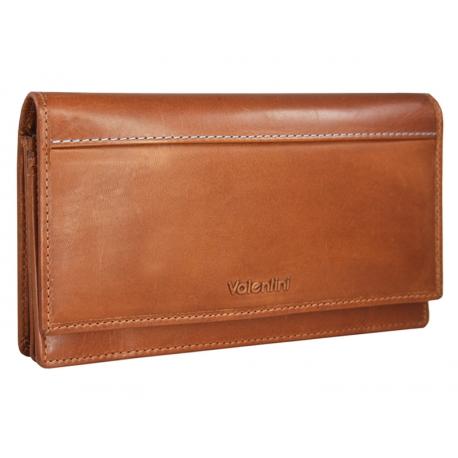 7854628dfab83 Skórzany brązowy portfel damski Valentini