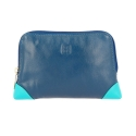 Kolorowa skórzana kosmetyczka marki DuDu®, niebieski + granatowy