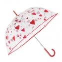 Głęboka przezroczysta parasolka w czerwone serca