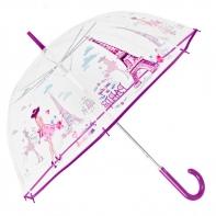 Głęboka przezroczysta parasolka w paryski wzór