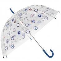 Głęboka przezroczysta parasolka w kolorowe kółka