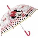 Dziecięca głęboka parasolka z motywem Myszki Minnie, czerwona
