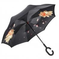 """Parasol odwrócony """"Revers"""" w pomarańczowe kwiaty"""