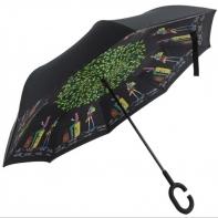 """Parasol odwrócony """"Revers"""" z motywem ludzi pod drzewem"""