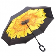 """Parasol odwrócony """"Revers"""" z żółtym kwiatem"""