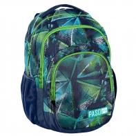 Lekki plecak szkolny Paso, zielono niebieski kalejdoskop