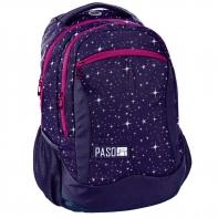 Lekki plecak szkolny Paso, fioletowy w gwiazdki
