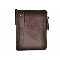 Brązowy, miękki, skórzany portfel męski Peterson