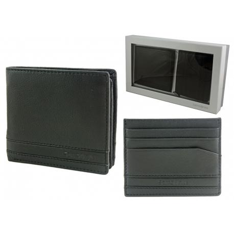 bb389d87fbc44 Samsonite  Skórzany portfel męski banknotówka i etui na karty - zestaw  prezentowy