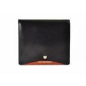 Skórzany portfel męski marki Peterson, RFID, czarny z czerwoną wstawką