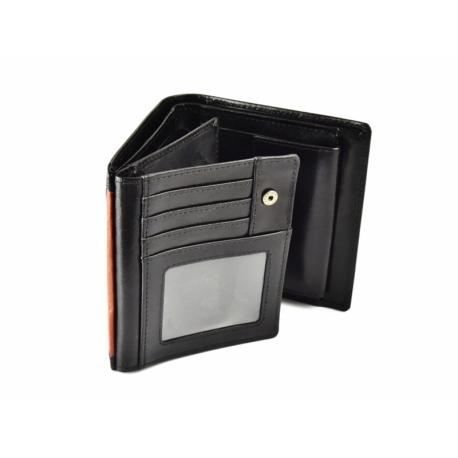 6ad7b841397b99 Pionowy skórzany portfel męski marki Peterson, RFID, czarny z ...