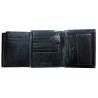 Pionowy skórzany portfel męski marki Peterson, czarny z czerwoną wstawką