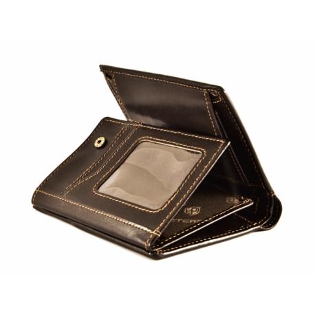 9a869a243d53f Pionowy skórzany portfel męski marki Peterson, brązowy, RFID