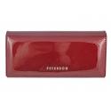Długi portfel damski Peterson, RFID, czerwony, lakierowany