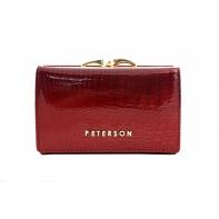 Portmonetka damska Peterson, czerwona, lakierowana