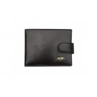 Poziomy portfel męski marki Peterson z zapięciem, czarny RFID