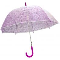 Głęboka przezroczysta automatyczna parasolka we fioletowe serduszka