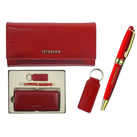 2613dfd6b41e8 Zestaw prezentowy Peterson: portfel damski, breloczek, długopis, czerwony,  skóra