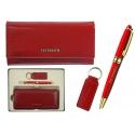 Skórzany czerwony zestaw Peterson: portfel damski, breloczek, długopis