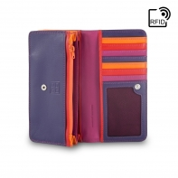 Skórzany portfel damski marki DuDu®, fuksja + pomarańczowy