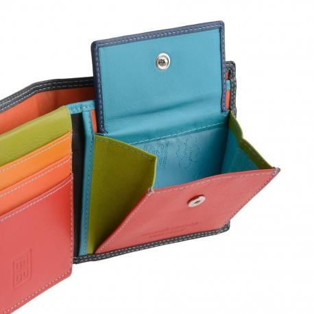 0880a8eabdc3d Skórzany mały portfel męski marki DuDu®, RFID, czarny z kolorowym środkiem