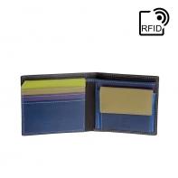 Skórzany mały portfel męski marki DuDu®, RFID, brązowy z kolorowym środkiem