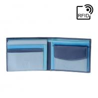 Skórzany portfel męski marki DuDu®, RFID, niebieski z kolorowym środkiem