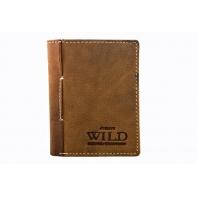 Mały portfel męski Always Wild ze skóry nubukowej, jasno brązowy