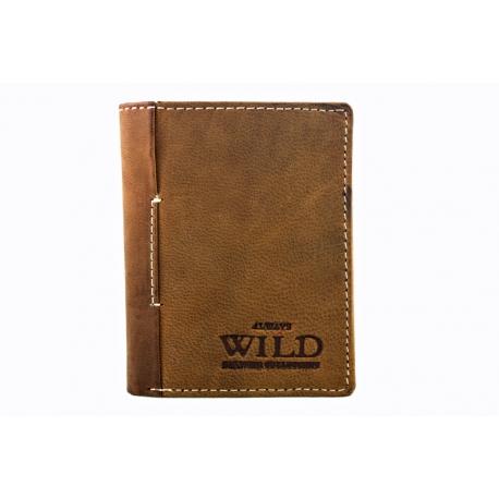 dbbd59bd162da Mały portfel męski Always Wild ze skóry nubukowej, jasno brązowy