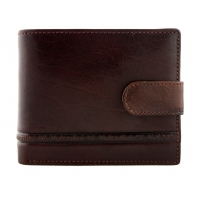 Męski poziomy skórzany portfel Valentini z zapięciem, brąz