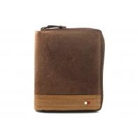 Super wyposażony portfel męski z suwakiem Always Wild ze skóry nubukowej - brązowy