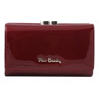 Skórzana lakierowana portmonetka Pierre Cardin w kolorze ciemno czerwonym