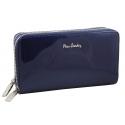 Skórzany lakierowany portfel typu saszetka Pierre Cardin, granatowy