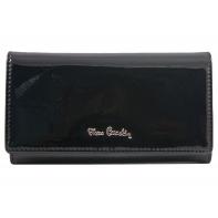 Lakierowany skórzany portfel damski Pierre Cardin, czarny