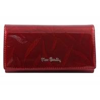 Lakierowany skórzany portfel damski Pierre Cardin, ciemno czerwony