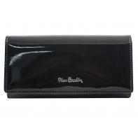 Skórzany lakierowany portfel Pierre Cardin w kolorze czarnym