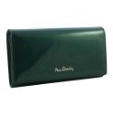 Lakierowany skórzany portfel Pierre Cardin w kolorze zielonym