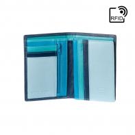 Cienki skórzany portfel damski marki DuDu®, RFID, niebieski + błękitny