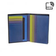 Cienki skórzany portfel damski marki DuDu®, RFID, brązowy, granat + inne