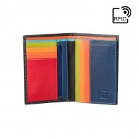 Cienki skórzany portfel damski marki DuDu®, RFID, czarny z kolorowym środkiem