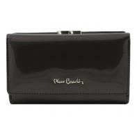 Skórzana lakierowana portmonetka Pierre Cardin w kolorze grafitowym