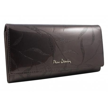 9e3c4f217dd85 Lakierowany skórzany portfel damski Pierre Cardin, grafitowy